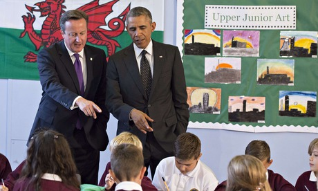 David Cameron and Barack Obama during a visit to Mount Pleasant Primary School in Newport, Wales